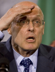 """Looking back on that very scary period of """"Financial System Meltdown"""", we have the luxury of imagining what Henry Paulson was really thinking during all those weeks he was trying to reassure the markets! This image might be captioned: """"OMG... What will we do?"""""""