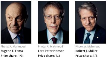 Eugene Fama, Lars Peter Hansen, Robert Shiller