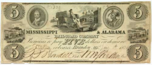 A bank note tied to the Mississippi-Alabama Railroad... from the 19th Century.