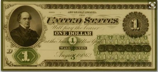 """This is what the """"original"""" one dollar U.S. dollar bill looked like ... produced in the midst of the War Between the States."""