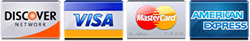 We accept Discover, Visa, MasterCard, American Express.